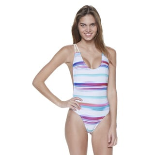 Dippin' Daisy's Tan Stripe Strappy Crossback Lowback One Piece