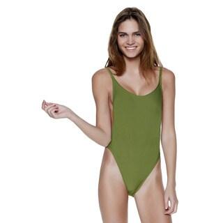 Olive High Cut Vintage Swimsuit