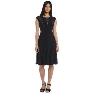 R&M Richards Women's Lace Godet Dress