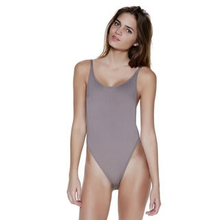 Taupe High Cut Vintage Swimsuit