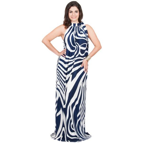 KOH KOH Women's Plus Size Halter Sleeveless Zebra Printed Slimming Maxi Dress