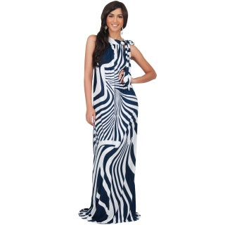 KOH KOH Womens Plus Size Halter Sleeveless Printed Slimming Maxi Dress