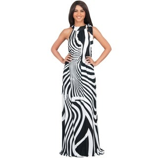 KOH KOH Women's Plus Size Halter Sleeveless Zebra Printed Slimming Maxi Dress