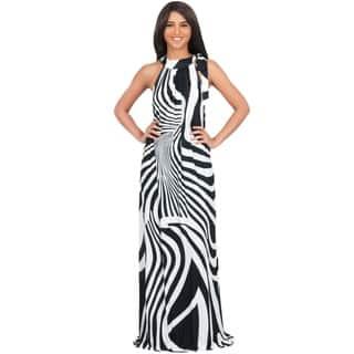 KOH KOH Women's Plus Size Halter Sleeveless Zebra Printed Slimming Maxi Dress|https://ak1.ostkcdn.com/images/products/11420627/P18383426.jpg?impolicy=medium