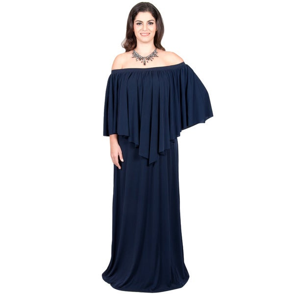 26cf7b484327f Koh Koh Women  x27 s Plus-size Strapless Off-Shoulder Ruffle Cocktail