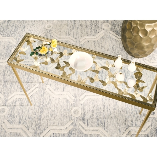 Safavieh Rosalie Antique Gold Leaf Butterfly Console Table