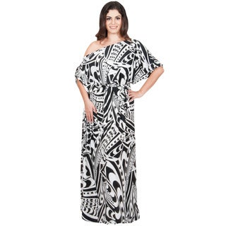 KOH KOH Women's Plus Size One Shoulder Graphic Print Elastic Waist Maxi Dress with Matching Belt