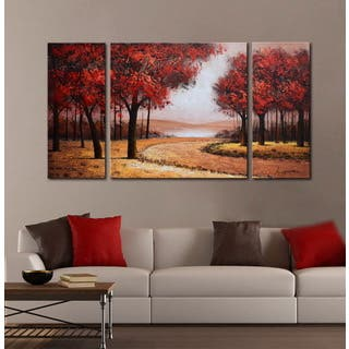 Hand-painted 'Red Autumn Forest' 3-piece Gallery-wrapped Canvas Art Set|https://ak1.ostkcdn.com/images/products/11420651/P18383438.jpg?impolicy=medium