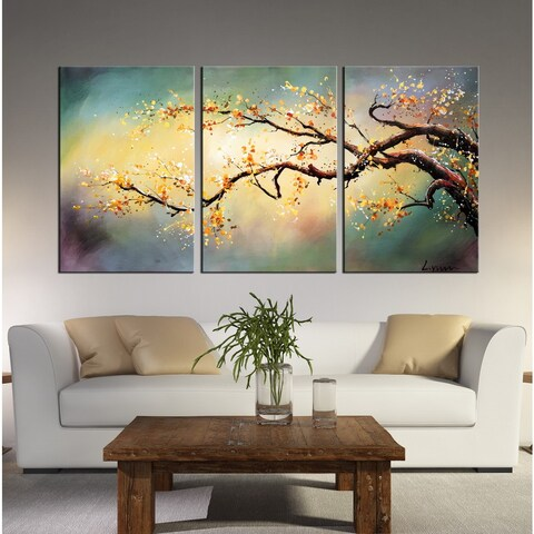 Hand-painted 'Yellow Plum Blossom' 3-piece Gallery Wrapped Canvas Art Set