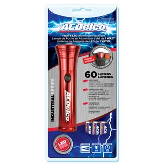 ACDelco AC323 Red 1 Watt LED Flashlight with 3AAA Alkaline Batteries and Holster