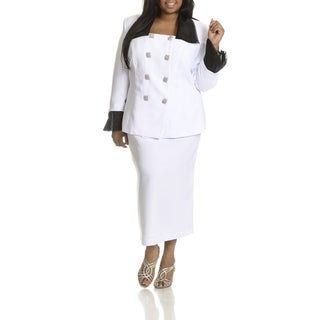 Ella Belle Women's Plus Size Double Breasted 2-piece Skirt Suit