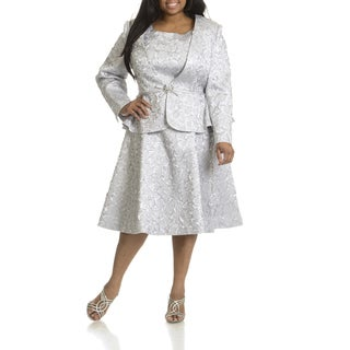 Giovanna Signature Women's Plus Size Crinkled 2-piece Dress Suit