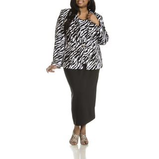Giovanna Signature Women's Plus Size Zebra Print 3-piece Skirt Suit