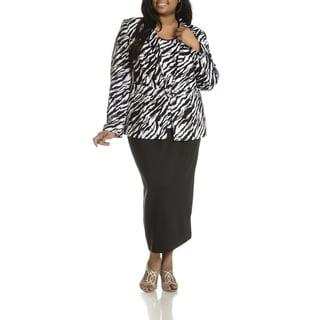 Giovanna Signature Women's Plus Size Zebra Print 3-piece Skirt Suit