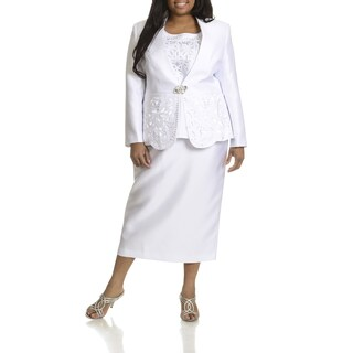 Giovanna Collection Women's Plus Size Cut-Out Detail 3-piece Skirt Suit (More options available)