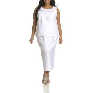 Giovanna Collection Women's Plus Size Cut-Out Detail 3-piece Skirt Suit