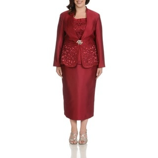 Giovanna Collection Women's Plus Size Cut-Out Detail 3-piece Skirt Suit