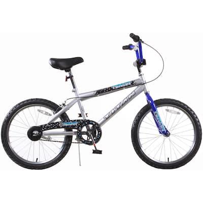 Tomcat Boys Silver and Black BMX Bike with 20-inch Wheels