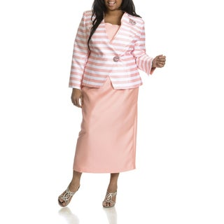 Giovanna Collection Women's Plus Size Striped 2-piece Skirt Suit