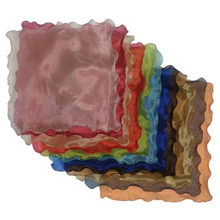 Celebration Organza Ruffled 12 piece Multi Dinner Napkin Set - Multiple Colors