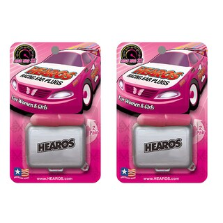 Hearos Racing Ear Plugs for Women and Girls, Corded with Free Case (2 Pack)