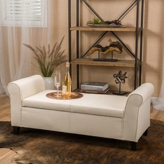 Torino Contemporary Fabric Upholstered Storage Ottoman Bench with Rolled Arms by Christopher Knight Home