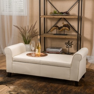 Link to Torino Contemporary Fabric Upholstered Storage Ottoman Bench with Rolled Arms by Christopher Knight Home Similar Items in Living Room Furniture