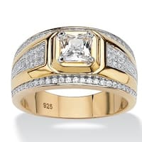 14k Gold over Silver Men's Square-cut and Pave Cubic Zirconia Ring