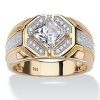 14k Gold over Silver Men's Square Cubic Zirconia Octagon Ring