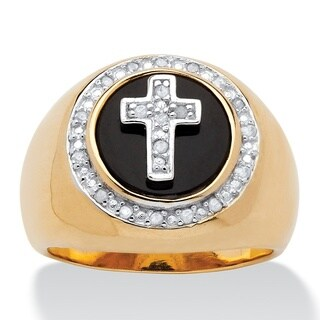 14k Gold over Silver Men's 1/10ct TDW Diamond and Bezel-set Onyx Halo Cross Ring