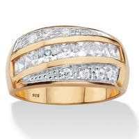 14k Two-tone Gold over Silver Men's Square Cubic Zirconia Channel Ring
