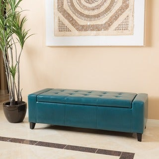 Guernsey Faux Leather Storage Ottoman Bench by Christopher Knight Home