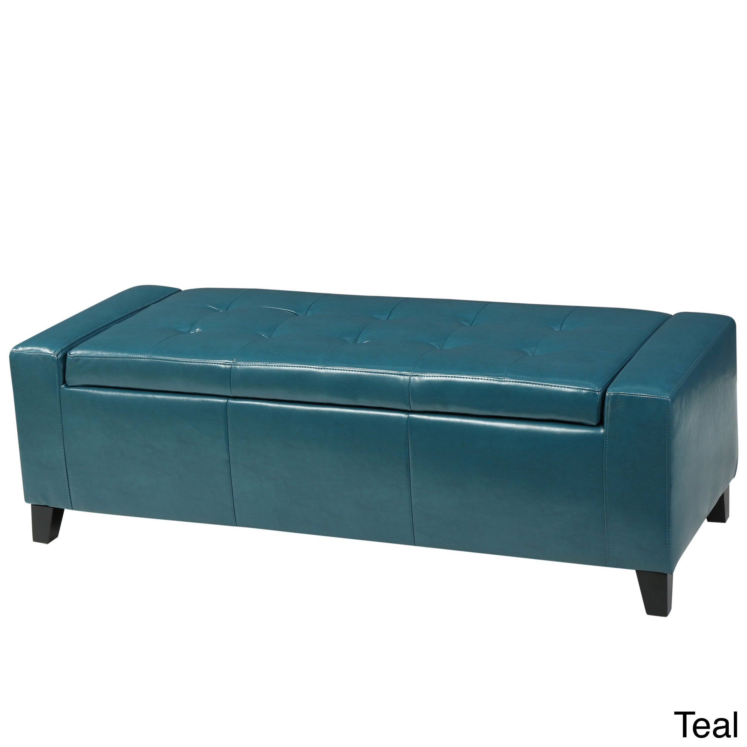 Delicieux Ottoman Storage Bench Padded Rectangle Seat Guest Chair Toy Organize Wood  Teal