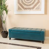 Shop Jasper Laine Healy Teal Leather Tufted Bench On