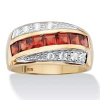 14k Gold over Silver Men's Square-cut Garnet and Pave Cubic Zirconia Channel-set Ring