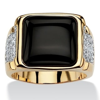 PalmBeach 14k Yellow Gold Overlay Men's Cushion Black Onyx and Cubic Zirconia Cabochon Ring