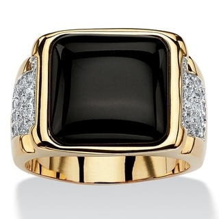 14k Yellow Gold Overlay Men's Cushion Black Onyx and Cubic Zirconia Cabochon Ring