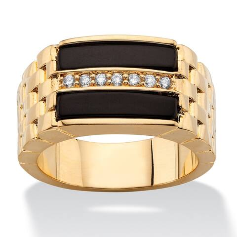 14k Gold Overlay Men's Black Onyx and Cubic Zirconia Buff Top Ring