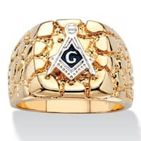 14k Yellow Gold Overlay Men's Nugget Masonic Insignia Ring