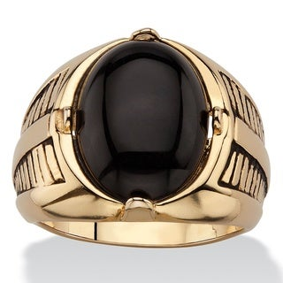 14k Gold Overlay Men's Oval Genuine Onyx Etched Cabochon Ring