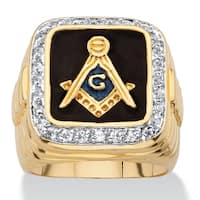 14k Yellow Gold Overlay Men's Enamel and Cubic Zirconia Masonic Ring