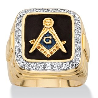 14k Yellow Gold Overlay Men's Enamel and Cubic Zirconia Masonic Ring