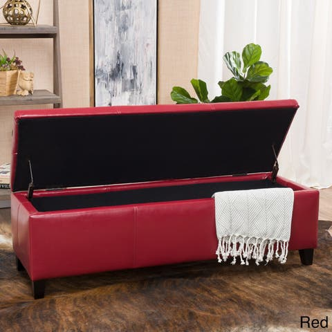 Lucinda Faux Leather Storage Bench