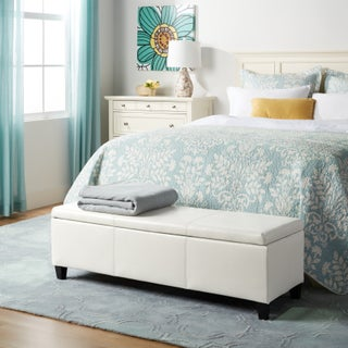 Lucinda Faux Leather Storage Bench (Option: Ivory)