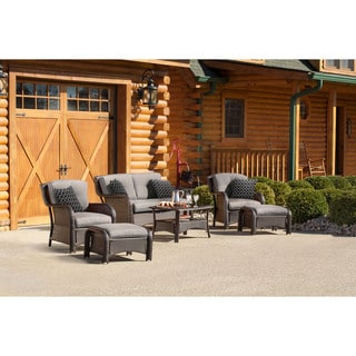 Hanover Strathmere 6 Piece Deep Wicker Seating Patio Set (Option: Green)