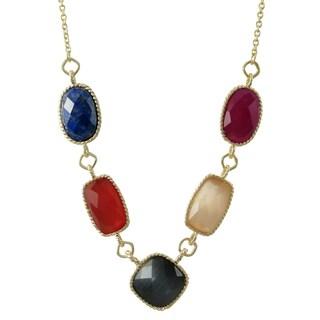 Luxiro Gold Finish Sterling Silver Semi-precious Gemstone Station Necklace