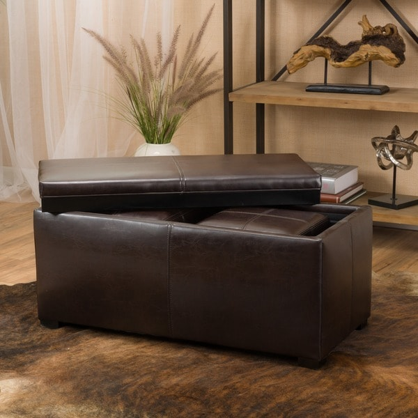 Drake 3-piece Faux Leather Tray Top Nested Storage Ottoman Bench by  Christopher Knight Home - Drake 3-piece Faux Leather Tray Top Nested Storage Ottoman Bench