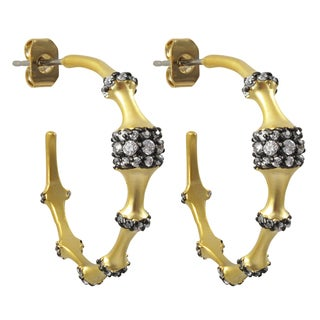 Luxiro Two Tone Gold and Black Finish Cubic Zirconia Saddleback Hoop Earrings