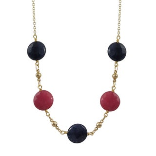 Luxiro Gold Finish Pink and Blue Jade Gemstone Station Necklace