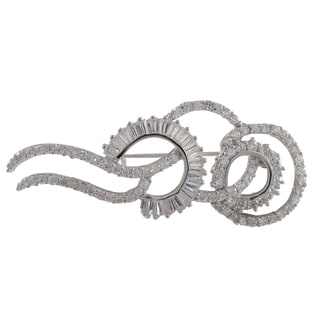 Luxiro Sterling Silver Baguette Cubic Zirconia Spiral Pin Brooch